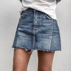 GRLFRND Claudia Denim Mini Skirt in Dancing Queen